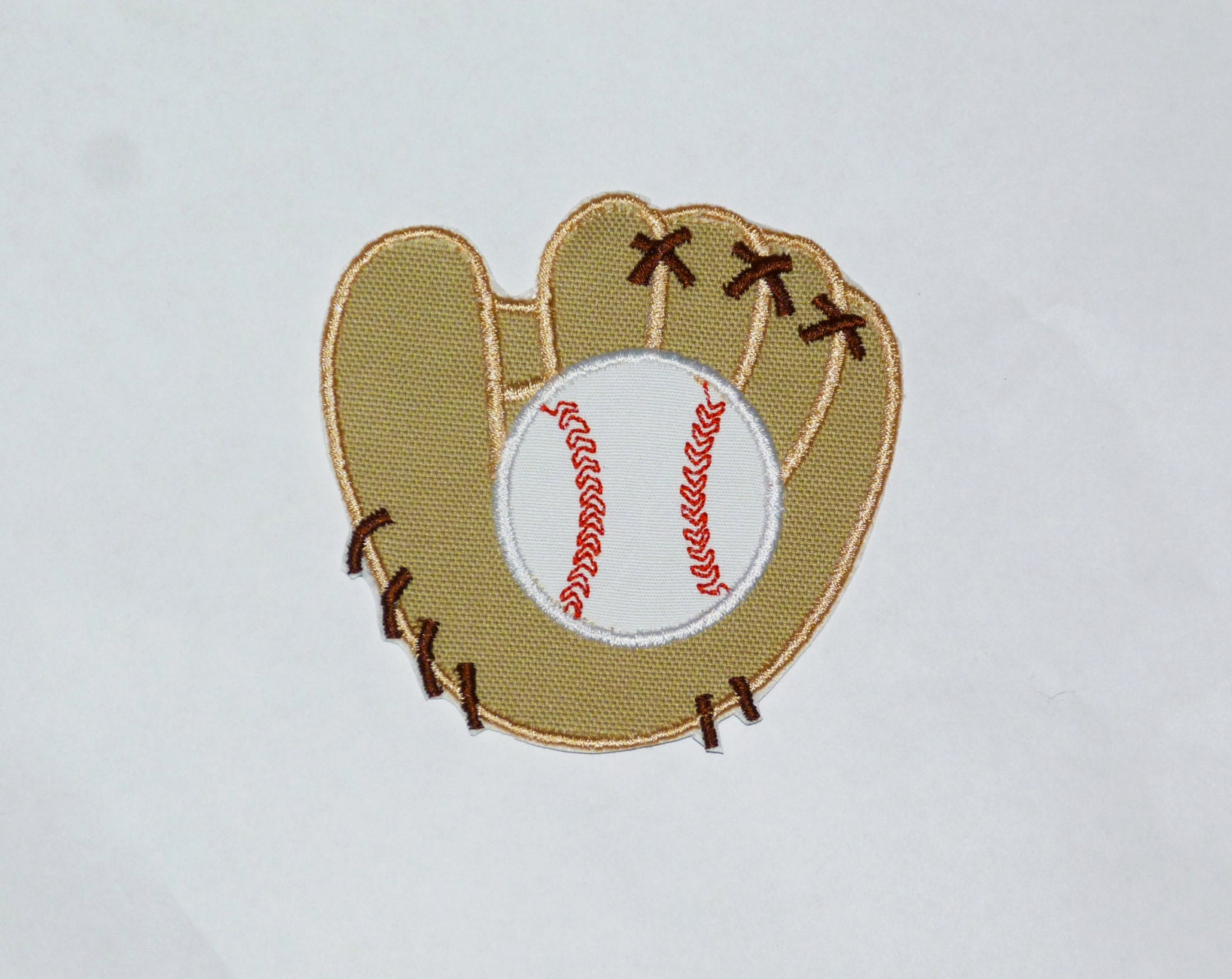 embroidered iron on applique baseball and glove. Black Bedroom Furniture Sets. Home Design Ideas