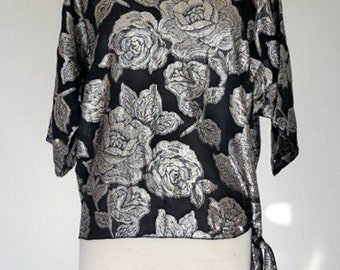 GLITZ // black blouse with silver roses 1950s style M / L / Xl