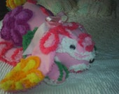 Plush Chenille Bunny-Pink, Purple and Yellow-SWEET