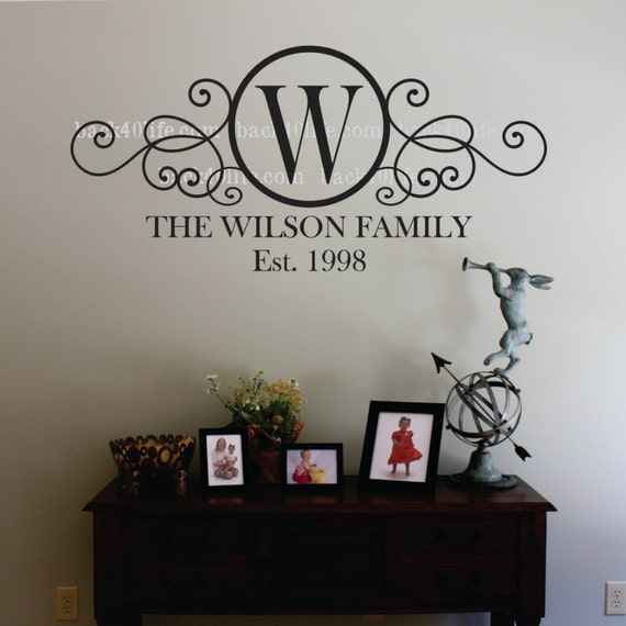 Swirly Circle Family Monogram Vinyl Wall Decal (m-010)