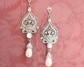 1920s Earrings, Bridal Pearl Earrings, Pearl Chandelier Earrings, Downton Abbey Earrings, Vintage Inspired, Hollywood Earrings  - 'ALISA'