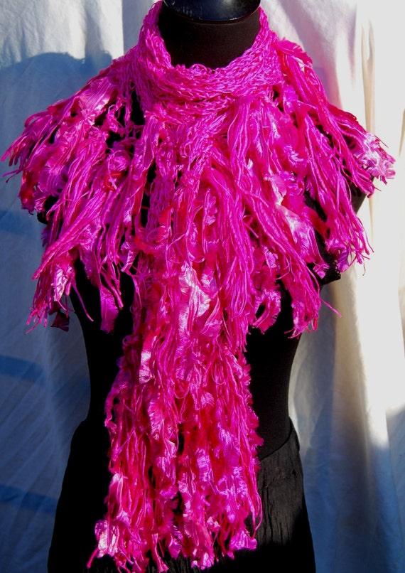 Bright Pink Silk Handmade Crochet Scarf