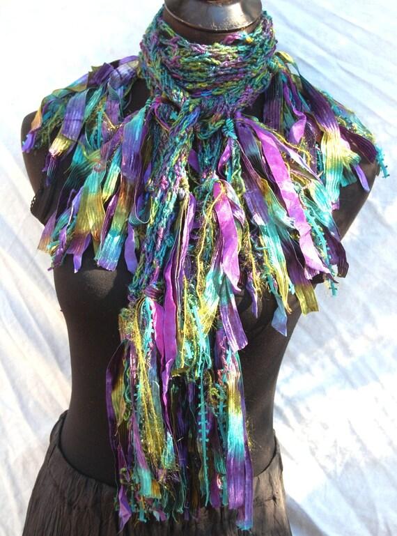 Plum Purple, Teal & Olive Green Bamboo Silk Handmade Crochet Scarf