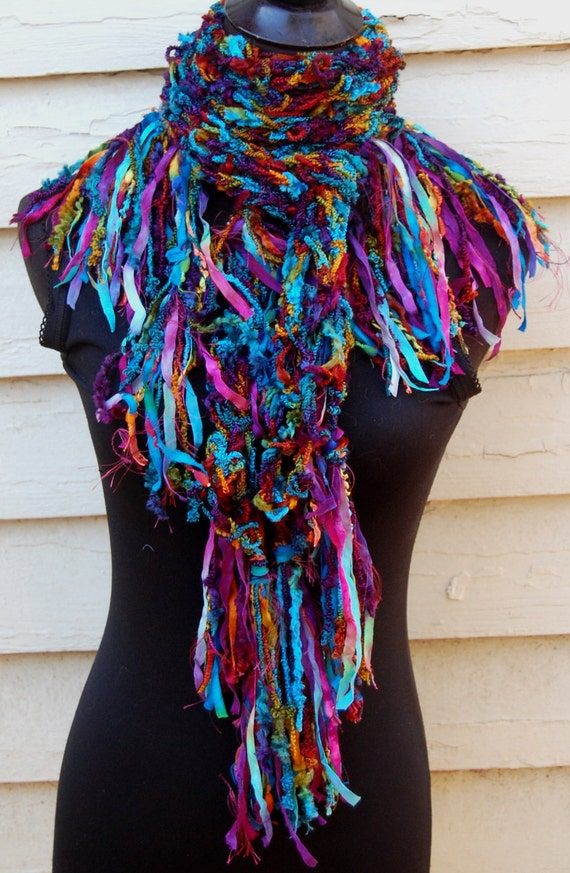 Multi Color Jewel Tones Handmade Crochet Scarf