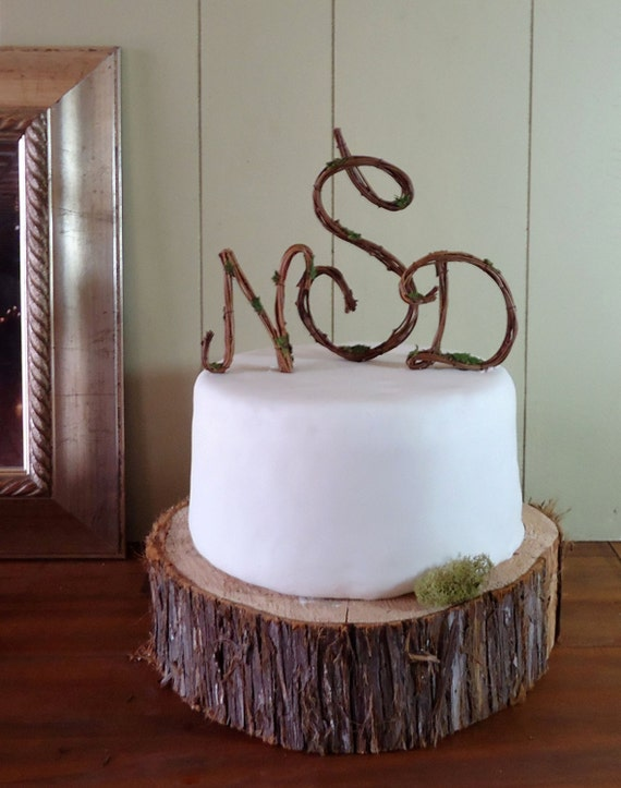 rustic wedding cake toppers etsy wedding cake topper rustic grapevine monogram script any 19584