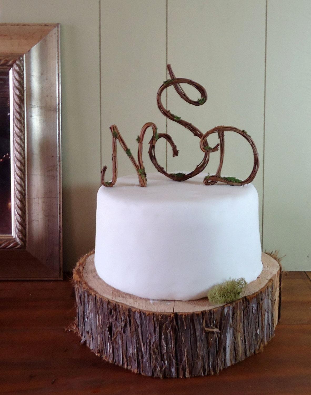 Wedding Cake Topper Rustic Grapevine Monogram Script Any