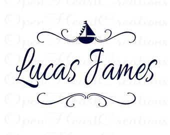 Nautical Wall Decal with Personalized Boy Name - Sailboat Vinyl Decal with Custom Name for Boy Baby Nursery or Room 22H x 36W FN0347