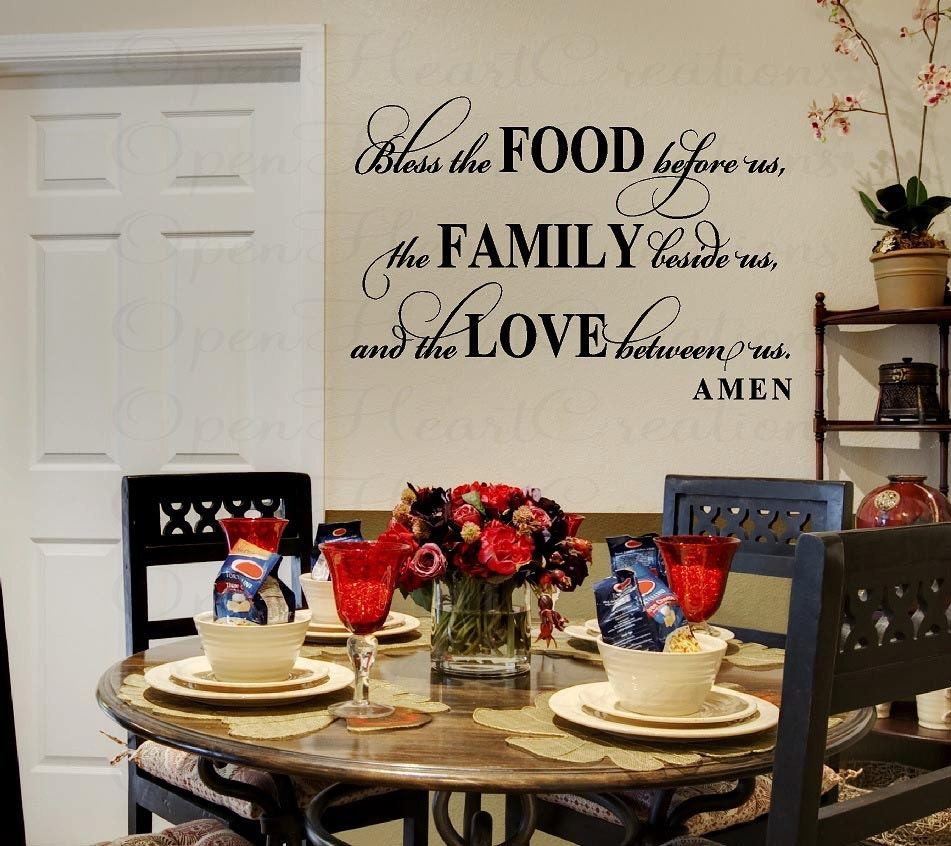 Bless this food before us wall decal dining by for What to put on dining room walls
