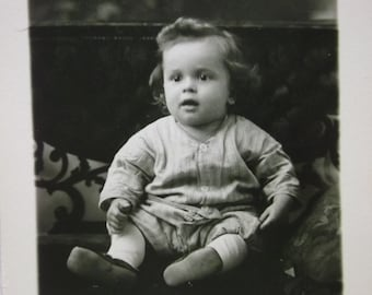 Cute Little Long Haired Baby Boy - Vintage Real Photo Postcard - early 1900's