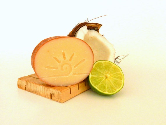 Lime and Coconut Soap / Cold Process Soap / Chocolate Homemade Soap - CARIBBEAN
