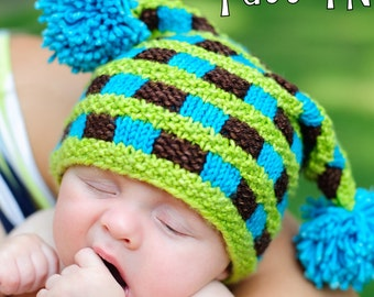 make your own Checkered Square Cap (DIGITAL KNITTING PATTERN) newborn baby toddler child adult