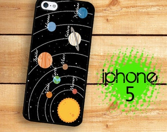 iPhone SE 5S Solar System Planets and Stars Plastic or Rubber Case for iPhone 5 iPhone 5S
