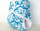 One Size Cloth Diaper or cloth diaper cover for baby teal white damask