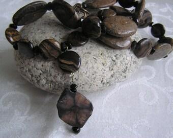 Black Swirls  (Chiastolite, Brown and Black Jasper Necklace)