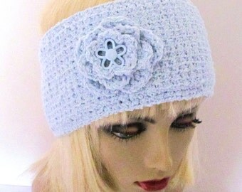 Light Blue Ski Hat, Light Blue Hat with Accent Flower, Ladies Blue Winter Hat, Ladies Blue Ski Hat, Knit Blue Ski Hat, Knit Blue Ski Band