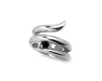 Taormina Wrap Cocktail Ring with Black Diamond