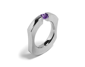 Comfort Fit Tension Set Amethyst Ring Stainless Steel