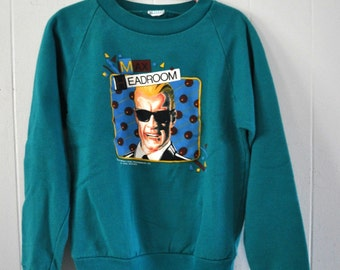 Kids Sweatshirt 1987 Vintage Max Headroom Children Funky Rad Teal Youth 6 8