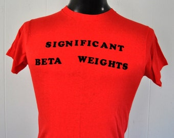 Vintage Tee Soft n Thin Iron On Letters 70s 80s Red Tshirt SMALL