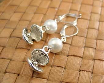 SALE:  Open Clam Shell and Glass Pearl Earrings - 50% Off