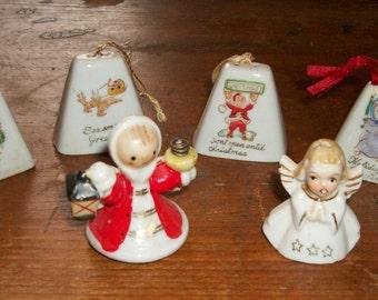 Sale!! Vintage Ceramic/Bisque Christmas Ornaments/Bell Decorations--50% off