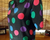 Vintage 80s Multi colored polka dot Short sleeve Hipster Blouse M-L Free shipping