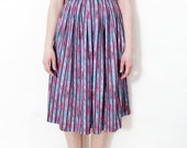 Vintage skirt / colorful stripe high waist skirt / size M