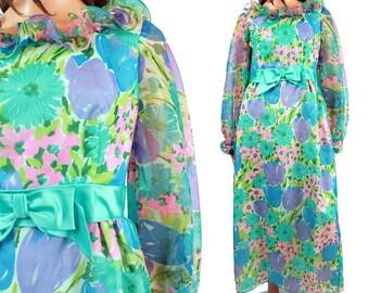 SALE! Floral Maxi Dress Sz M - Vintage 60s 70s Blue Pink Flowers Ruffled Chiffon Long Sleeve Costume Nadine Size Medium FREE US Shipping