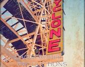 Coney Island Photo- 8X10 METALLIC Print- Fine Art Photography-The Cyclone RollerCoaster- Affordable Wall Art