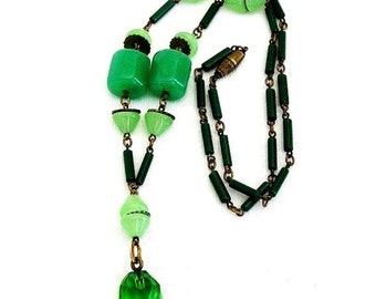 Art Deco Green Molded Glass Bead Necklace
