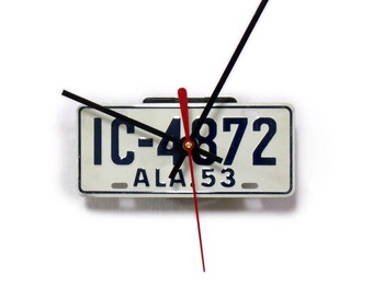 1953 Alabama Wall Clock - Bicycle License Tag - Mini AL Bike License Plate - 60th Anniversary