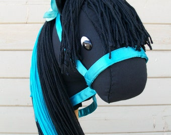 """MADE TO ORDER Classic Collection """"Black Turquoise"""" Stick Horse or Pony Ready to Ride"""