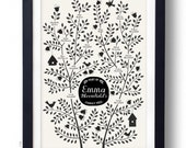 BIRDS Family Tree, 4 generations CUSTOMIZABLE - Black & White, 13 X 19