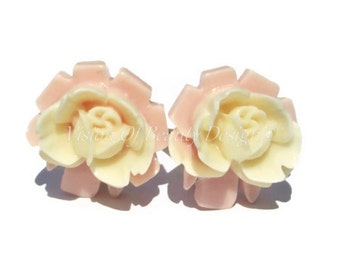 Pink & Cream Rose Clip On Earrings