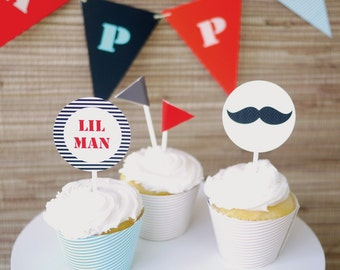 Little Man Kids Party Printable Package - Kids Party Decor, Mustache Tie Party Items, Boys Birthday Parties - PDF Download