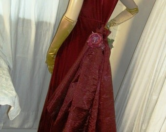 TREASURY Gorgeous 1920s 1930s Original Design Ruby Velveteen Gown with Rear Organza Bustle Size Medium 8/10 One of a Kind