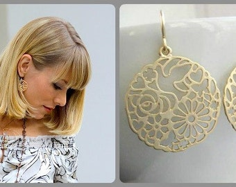 GBK Emmys Gift Lounge 2012 - Paloma Earrings, Gold Ornate Filigree Earrings with Dove hearts flowers - worn by Stephanie Drapeau