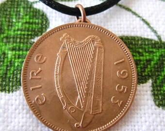 1953 IRISH Half Penny BIRTH YEAR Necklace