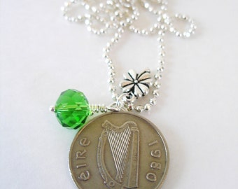 1980 IRISH Coin Charm Necklace- SILVER Irish 5 Pence Ireland Necklace