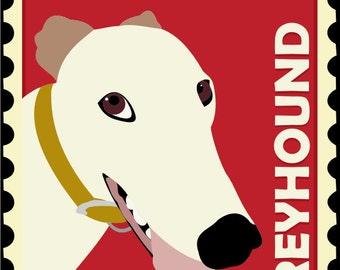 Greyhound Art Poster Postage Stamp Art Series, Greyhound Picture, Greyhound Lover, Greyhound Print