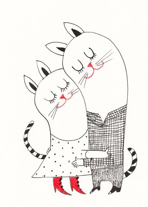 Cat Love Drawing Drawing Love Cute Cats