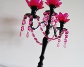 Sweet and Sassy 3 Tier Fuchsia and Black Candelabra
