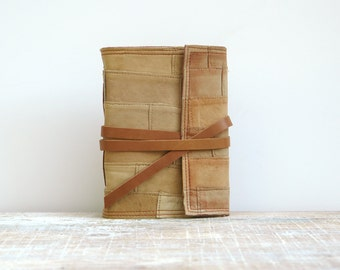 leather journal shabby cottage chic blank unlined notebook / sketchbook