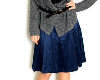 Women Gray Lace Jersey Cardigan, Long Sleeves, Unbuttoned