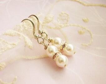 Petite bridal swarovski pearls pink rhinestone nickel free silver earrings, bridemaid earrings, flower girls, for daughters, young girls,