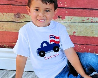 Boys Monogrammed 4th of July Shirt or Onesie, Patriotic, Dump Truck, Fourth of July