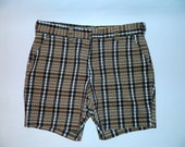vintage 1960s plaid shorts brown 60s shorts 36 38