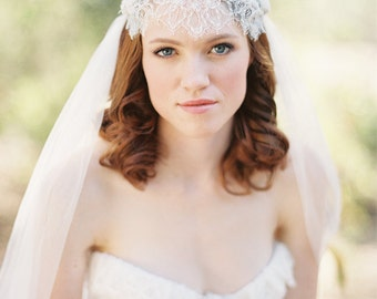 Wedding Veil, Bridal Veil, Juliet Cap veil, lace Veil, Beaded Veil, Chapel Length Bridal Veil, Ivory - Style 219