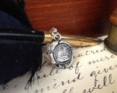 Ship Pendant - Antique Wax Seal Necklace in Fine Silver - Nautical Such Is Life - C'est La Vie - Life Goes On - Keep Calm