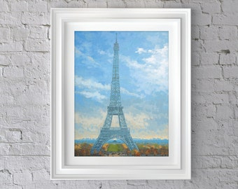 Eiffel Tower Painting 8x10  - Eiffel Tower Painting Print